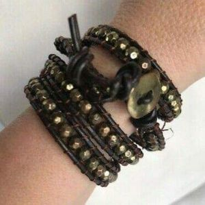Gold and Leather Wrap Bracelet NWOT